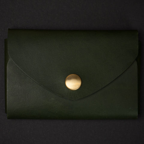 Ezra Arthur Green Leather Snap Card Wallet at The Lodge
