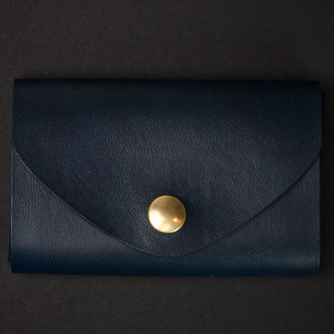 Ezra Arthur Navy Leather Snap Wallet at The Lodge