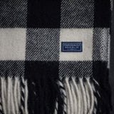 FARIBAULT BUFFALO CHECK WOOL THROW  BLACK + WHITE - THE LODGE  - 3