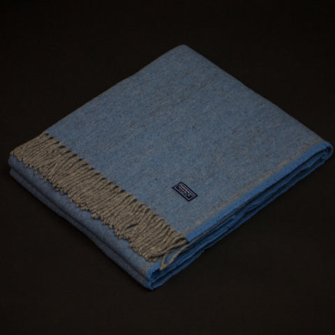 Faribault Woolen Mill Ashby Twill Wool Throw Wedgewood Blue at The Lodge