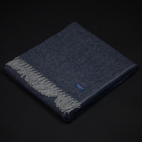 Faribault Woolen Mill Ashby Twill Merino Wool Throw Ink Blue at The Lodge