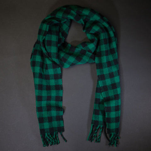 Faribault Green Buffalo Check Merino Wool Scarf at The Lodge