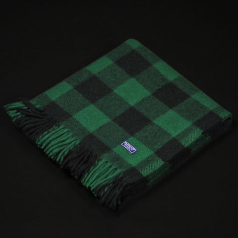 Faribault Buffalo Check Wool Throw Green at The Lodge