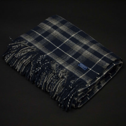 FARIBAULT MACALESTER PLAID THROW INK BLUE - THE LODGE  - 1