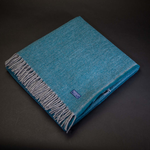 Faribault Woolen Mills Ashby Wool Throw Spruce at The Lodge