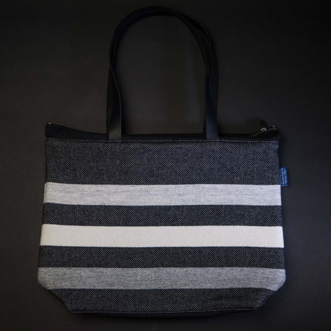 Faribault Woolen Mills Zippered Wool Tote Black Stripe at The Lodge Man Shop