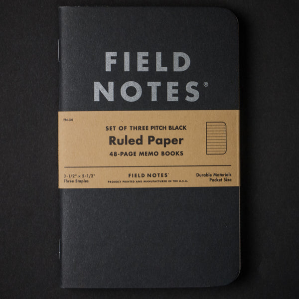 Field Notes Pitch Black 3-pack Notebook at The Lodge