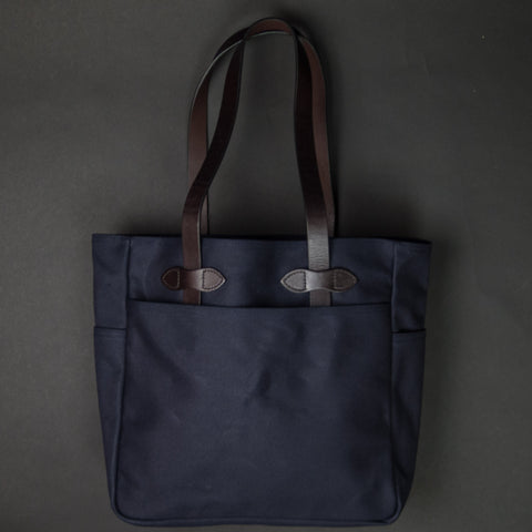 Filson Tote Bag Navy Waxed Twill at The Lodge