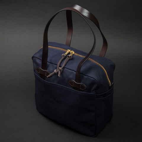 Filson Navy Zipper Tote Bag Waxed Twill at The Lodge