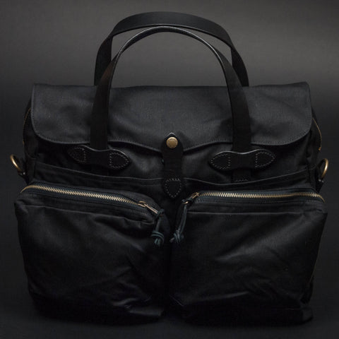 FILSON BLACK 24-HOUR TIN CLOTH BRIEFCASE - THE LODGE  - 1