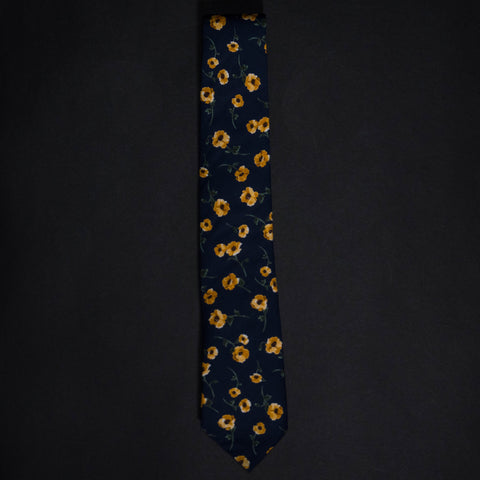 General Knot Dancing Floral Print Tie Navy at The Lodge