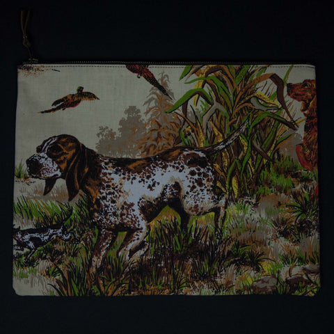 1950's HUNTING DOG & WAXED CANVAS ZIP POUCH