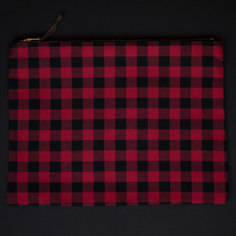 BUFFALO CHECK & JAPANESE IKAT ZIP IPAD POUCH
