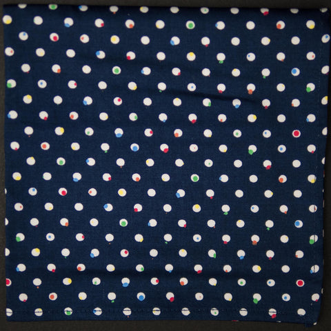General Knot Navy Pop Dots Pocket Square at The Lodge