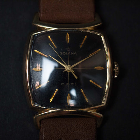 Vintage Golana Watch Gold with Brown Leather Strap at The Lodge
