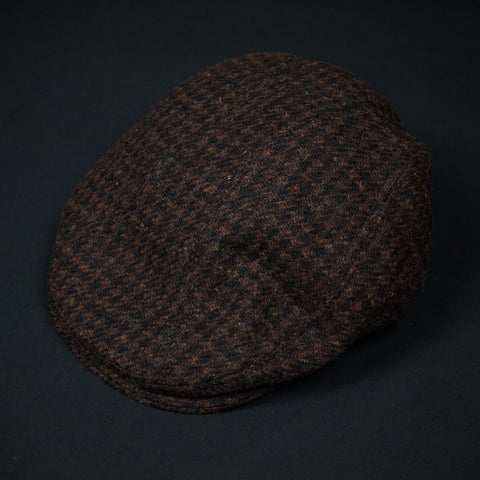 HARRIS TWEED WOOL CAP BROWN PLAID - THE LODGE  - 4