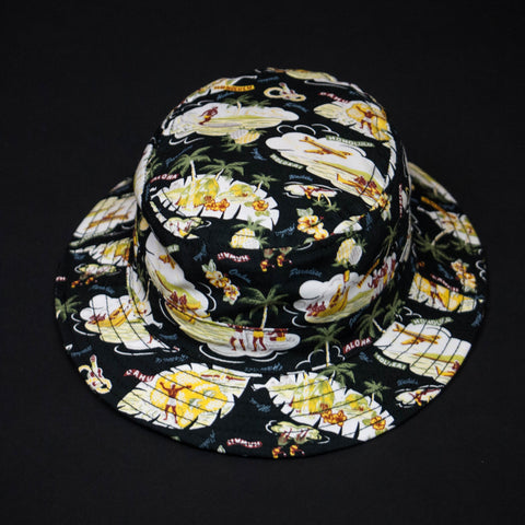 BLACK HAWAIIAN PRINT BUCKET HAT
