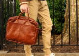 WINSTON TAN SOFT LEATHER BRIEFCASE - THE LODGE  - 10