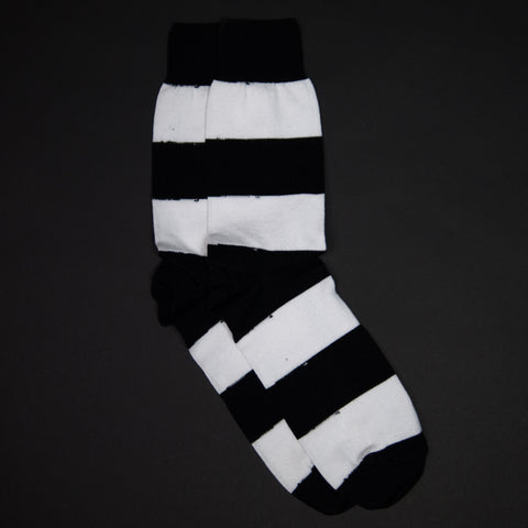 JEFFREY RUGBY STRIPED SOCKS BLACK/WHITE - THE LODGE  - 1
