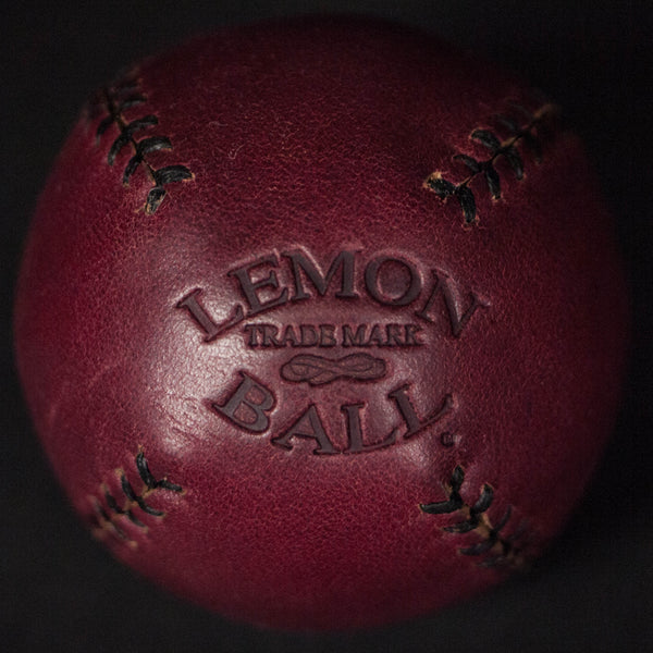 BURGANDY LEATHER LEMON BALL BASEBALL - THE LODGE  - 1