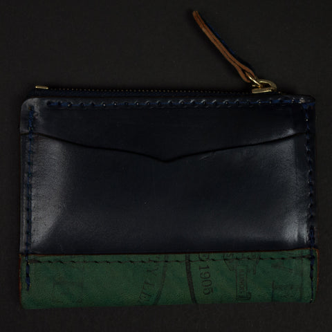 Laulon Navy Shell Cordovan Zip Coin Wallet at The Lodge