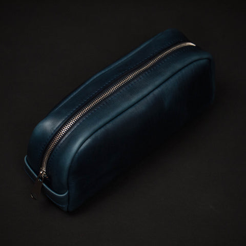 Laulom Navy Horween Leather Dopp Kit at The Lodge