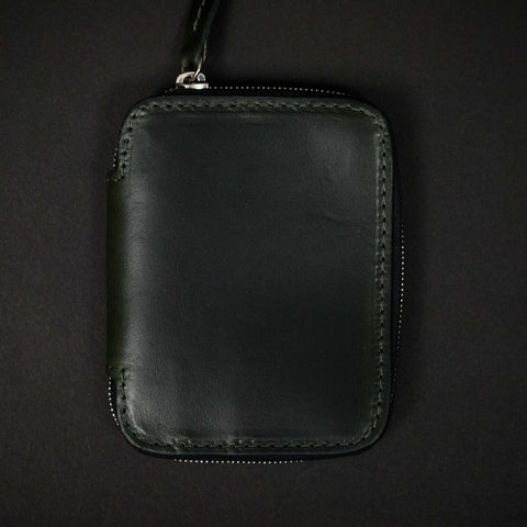 Laulom Moss Green Leather Zip Wallet at The Lodge