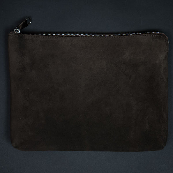 Laulom Brown Suede Large Zip Pouch at The Lodge