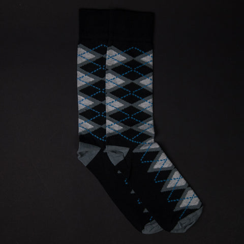The Lodge Black Beacon Hill Argyle Cotton Socks