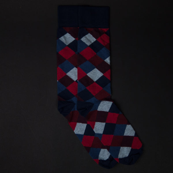 The Lodge Blue Prescott Squares Cotton Socks