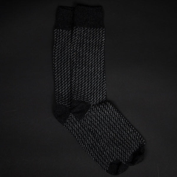 Hudson Charcoal 3-Stitch Wool Cashmere Socks at The Lodge