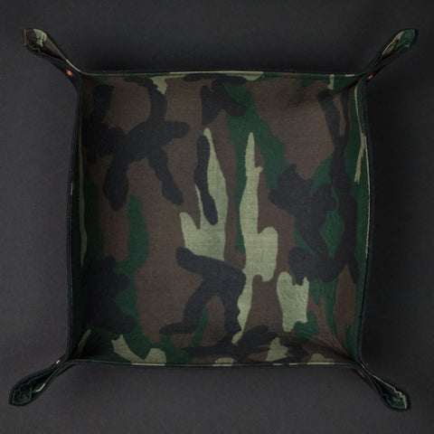 The Lodge Black Leather Valet Tray with Camouflage Lining