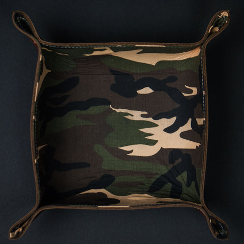 The Lodge Leather Brown Leather Valet Tray with Camouflage lining