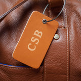CHOCOLATE BROWN LEATHER LUGGAGE TAG FOR MONOGRAMMING
