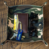 BROWN LEATHER VALET TRAY WITH CAMO LINING