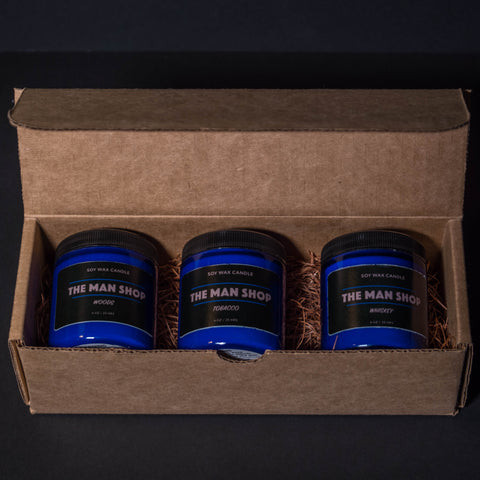 MAN FAVORITES MAN SHOP MINI-CANDLE GIFT SET COBALT 4 OZ- 3 PACK