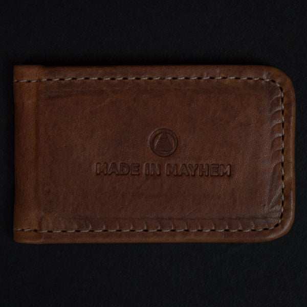 Made in Mayhem Hamilton Leather Money Clip Camel at The Lodge