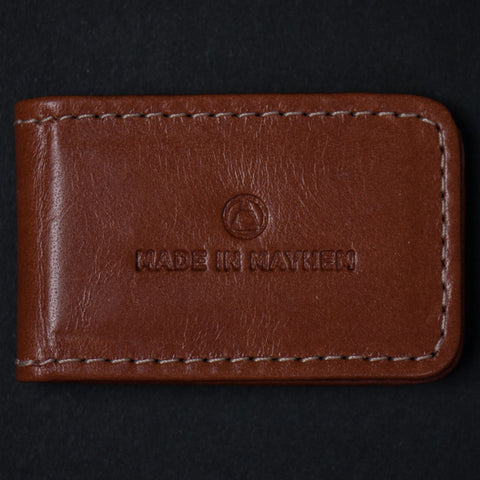 Made in Mayhem Tan Leather Money Clip at The Lodge