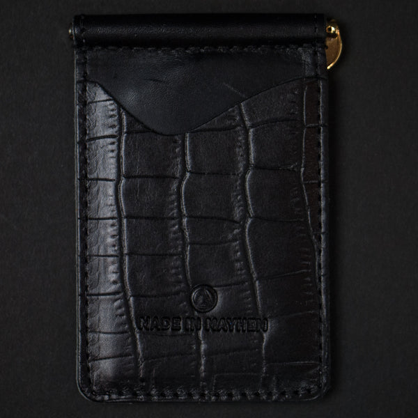 Made in Mayhem Black Embossed Leather Madison Money Clip Wallet at The Lodge