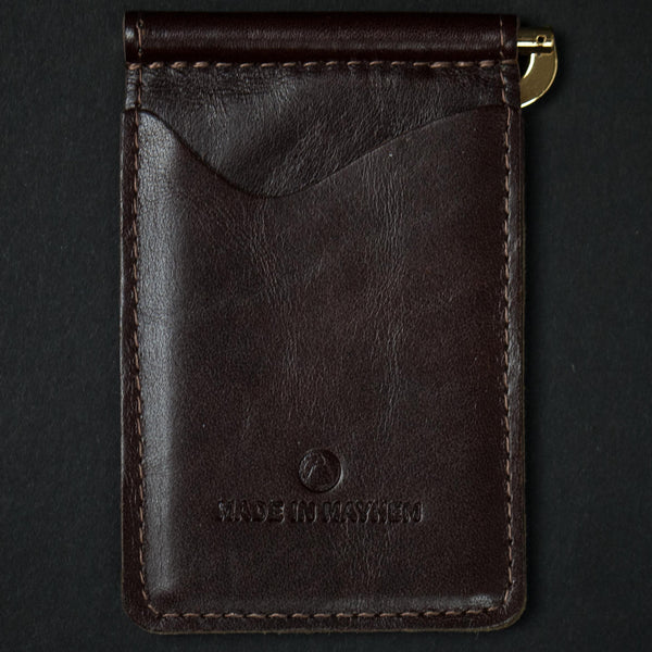 Made in Mayhem Brown Madison Leather Money Clip Wallet at The Lodge