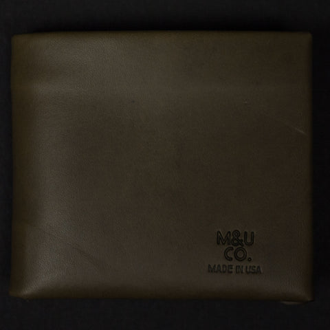 Maxx & Unicorn Billfold Wallet Olive Leather at The Lodge