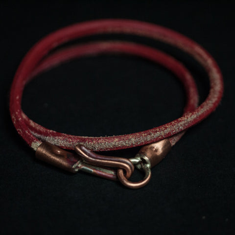 THE ACE DOUBLE WRAP LEATHER BRACELET RED - THE LODGE  - 1
