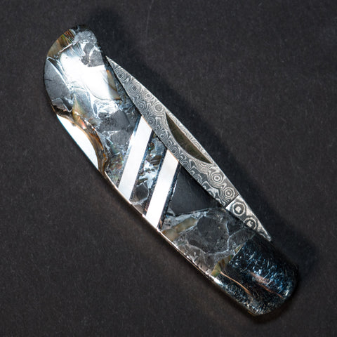 Santa Fe Stoneworks Obsidian Bronze Damascus Pocket Knife at The Lodge