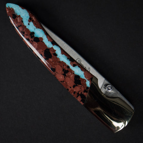 "VEIN TURQUOISE 4"" LINER LOCK KNIFE - THE LODGE  - 1"