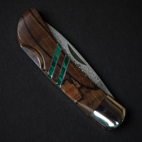 "Santa Fe Stoneworks Spalted Beech 3"" Knife Green with Damascus"