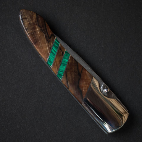 "Santa Fe Stoneworks Spalted Beech Malachite 4"" Knife at The Lodge"
