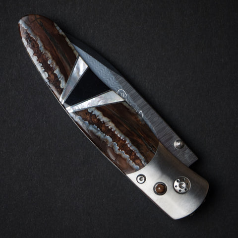 "Santa Fe Stoneworks Natural Woolly Mammoth Titanium Wave Damascus 4"" Knife at The Lodge"
