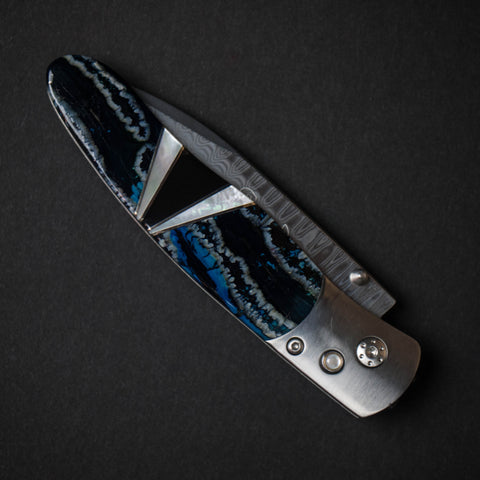 Santa Fe Stoneworks Blue Woolly Mammoth Titanium Wave Damascus Knife at The Lodge