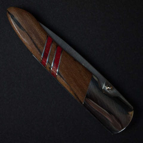 "RED CORAL SPALTED BEECH KNIFE WITH 4"" LINERLOCK"