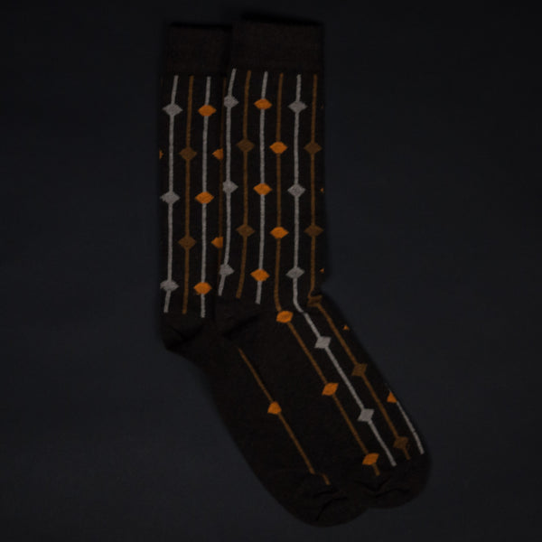 SPACE NEEDLES BROWN SOCKS - THE LODGE  - 1